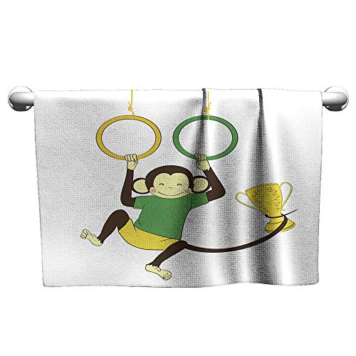 - homecoco Yoga Towel Victory Monkey Hanging on Gymnastics Rings and Holding Winning Absorbent Towel 20 x 20 Inch
