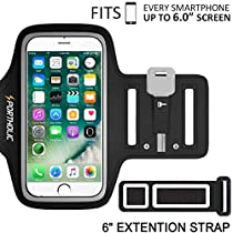 iPhone 8 Plus 7 Plus 6 Plus 6s Plus Armband, Portholic Cell Phone Workout Arm Band for Samsung Galaxy S6/S7 Edge s8/s8 Plus, LG G5, Note 2/3/4/5, Key Holder, 6.0 Inch, Running,Hiking,Cycling,Walking