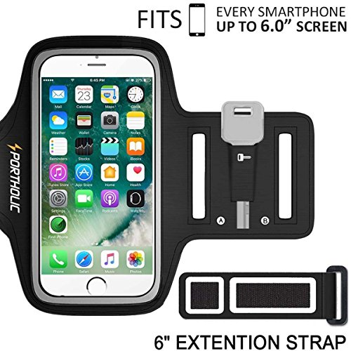 Lite Cloth Strap (iPhone X 8 Plus 7 Plus 6 Plus 6s Plus Armband, Portholic Cell Phone Workout Arm Band for Samsung Galaxy S6/S7 Edge s8/s8 Plus, LG G5, Note 2/3/4/5, Key Holder, 6.0 Inch, Running,Hiking,Cycling,Walking)
