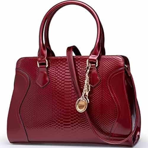 52f9ef9f4969 FOXER Women Handbag Leather Purse Top Handle Patent Leather Tote Shoulder  Bag