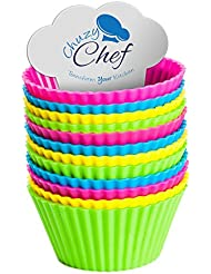Silicone Cupcake Baking Cups Molds - Assorted Colors Silicon Bakeware Mini Cupcake Mold Holders Liners Baking Supplies Set 12 Pieces Cups Container for Muffin Cake Liner by Chuzy Chef