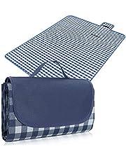 Rantizon Picnic Blankets, 200 x 220 cm Waterproof Picnic Rug Folding Large Picnic Blankets Compact Picnic Mat Lightweight Picnic Blankets with Waterproof Backing Yellow Gingham Picnic Blanket