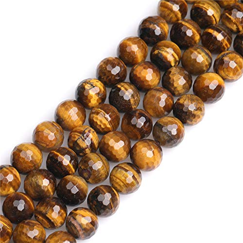 (JOE FOREMAN 10mm Yellow Tiger Eye Semi Precious Gemstone Round Faceted Loose Beads for Jewelry Making DIY Handmade Craft Supplies 15