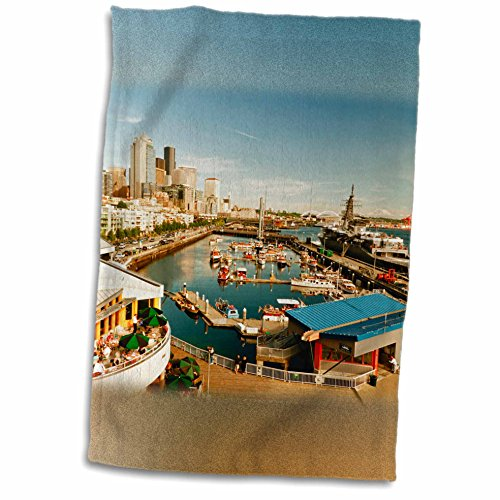 3dRose Danita Delimont - Seattle - USA, Washington, Seattle, Bell Street Pier - US48 RDU0473 - Richard Duval - 12x18 Towel (twl_148496_1)