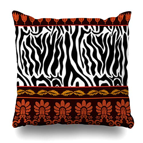 AileenREE Throw Pillow Covers Acanthus Ancient Pattern Geometrical Zebra Stripes Palmette Hunting Border Lotus Flowers Spot Pillowcase Square Size 16 x 16 Inches Home Decor Cushion Cases