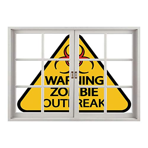 SCOCICI Creative Window View Home Decor/Wall Décor-Zombie Decor,Warning Zombie Outbreak Sign Cemetery Infection Halloween Graphic Decorative,Earth Yellow Red Black/Wall Sticker -