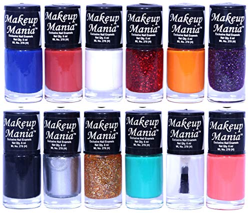Makeup Mania Nail Polish Set of 12 Pcs, Nail Paint of 6ml each x 12 Pcs, MultiColor Combo Set No.90