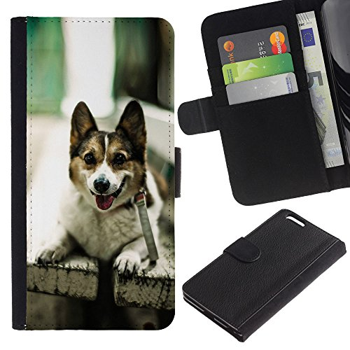 EuroCase - Apple Iphone 6 PLUS 5.5 - Funny Friendly Dog On A Bench - Cuir PU Coverture Shell Armure Coque Coq Cas Etui Housse Case Cover