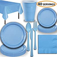 Disposable Party Supplies, Serves 40 - Light Blue - Large and Small Paper Plates, 12 oz Plastic Cups, heavyweight Cutlery, Napkins, and Tablecloths. Full Tableware Set