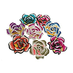 "1.6"" Diameter Mini Beautiful Colorful Artificial Rose Hawaiian Flower For Wedding Party Home Office Decoration Handwork Mother's Day Gift (Assorted Color)-Pack of 50 62"