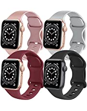 4 Pack Sport Bands Compatible with Apple Watch Bands 38mm 40mm 42mm 44mm, Soft Silicone Bands Compatible with iWatch Series 6 5 4 3 2 1 & SE