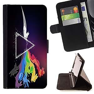 BullDog Case - FOR/LG Nexus 5 D820 D821 / - / Zeppelin Rabbit Rainbow /- Monedero de cuero de la PU Llevar cubierta de la caja con el ID Credit Card Slots Flip funda de cuer