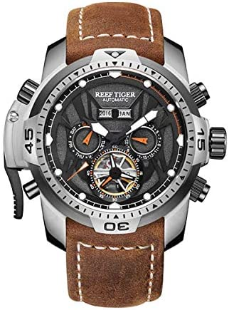 Reef Tiger Mens Sport Watches Stainless Steel Automatic Watch Military Watches Leather Strap RGA3532