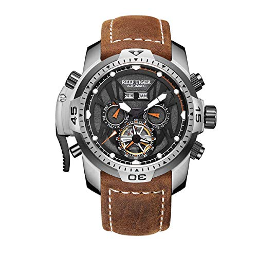 - Reef Tiger Mens Sport Watches Stainless Steel Automatic Watch Military Watches Leather Strap RGA3532 (RGA3532-YBRO)