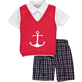 Kids 1950s Clothing & Costumes: Girls, Boys, Toddlers Carriage Boutique Knitted Anchor 3 Piece Short Set $58.00 AT vintagedancer.com