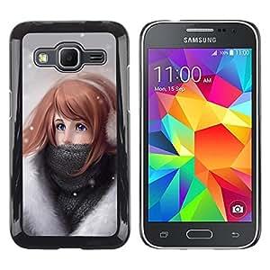 TopCaseStore / la caja del caucho duro de la cubierta de protección de la piel - Girl Winter Art Drawing Snow Cold Headphones - Samsung Galaxy Core Prime SM-G360