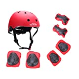 Toys : Kamugo Kids Youth Adjustable Sports Protective Gear Set Safety Pad Safeguard (Helmet Knee Elbow Wrist) Roller Bicycle BMX Bike Skateboard Hoverboard and Other Extreme Sports Activities