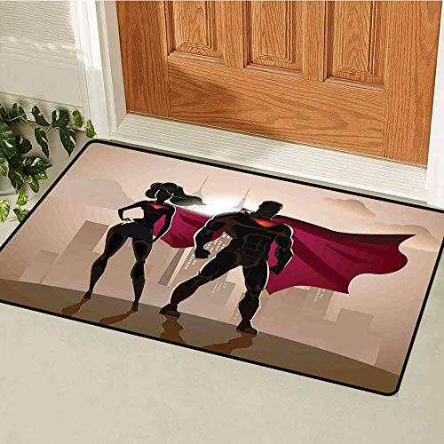 GloriaJohnson Superhero Welcome Door mat Super Woman and Man Heroes in City Solving Crime Hot Couple in Costume Door mat is odorless and Durable W23.6 x L35.4 Inch Beige Brown Magenta]()