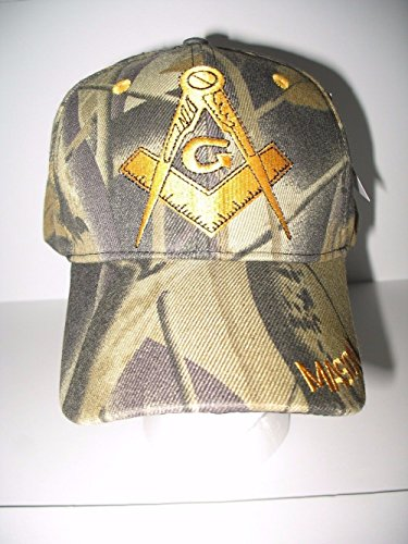 Camo Camoflauge And Gold Mason Masons Freemason Masonic Lodge Ball Cap Hat Twill