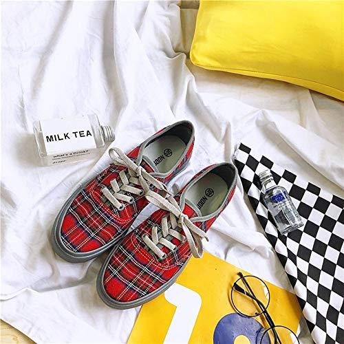 Red Heel Toe PU Sneakers Zapatos Flat Red Round Fall Mujer Grey Comfort ZHZNVX Poliuretano de aOPqfzawC