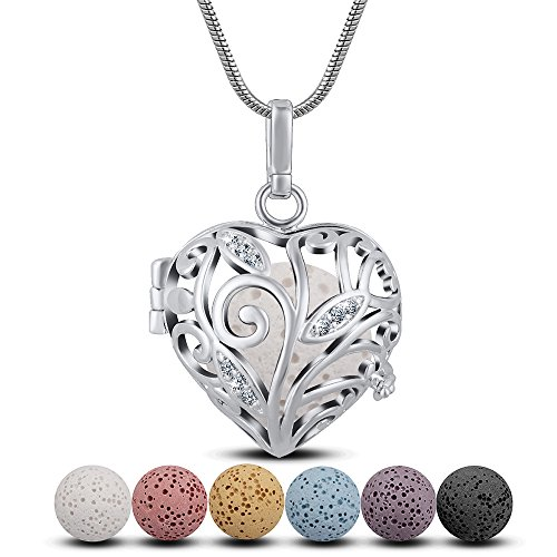 INFUSEU Lava Stone Aromatherapy Essential Oil Diffuser Necklace Heart Pendant Tree of Life Cubic Zirconia Locket and 6 Different Natural Rock Beads Perfume Scent Jewelry with Snake Chain Silver Plated