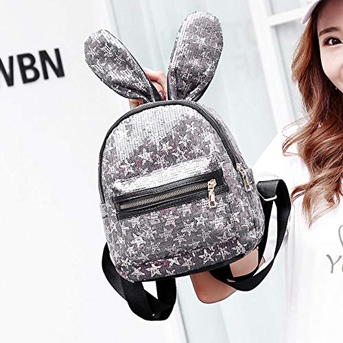Grey Backpacks Girl Glitter Women Ear Sequins Grey Mini Bags Rabbit Domybest Shoulder CwtqPRgn
