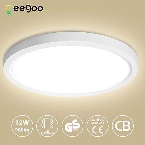 Oeegoo 12W LED Plafón de Superficie Ronda Lámparas de Techo 960 Lúmenes Reemplaza Bombilla Incandescente 90W RA> 80 Blanco Natural(4000-5000K) ...