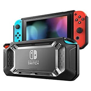 MoKo Case for Nintendo Switch, Heavy Duty Protective Slim Hard Cover Switch Shell, Shock-Absorption and Anti-Scratch for Nintendo Switch Console & Joy Con Controllers 2017 – Clear & Black