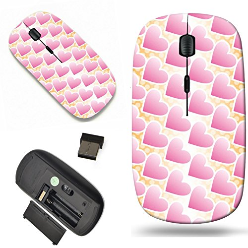 (Luxlady Wireless Mouse Travel 2.4G Wireless Mice with USB Receiver, 1000 DPI for notebook, pc, laptop, macdesign IMAGE ID: 31028073 Background Material wallpaper pattern of polka dots and heart heart)