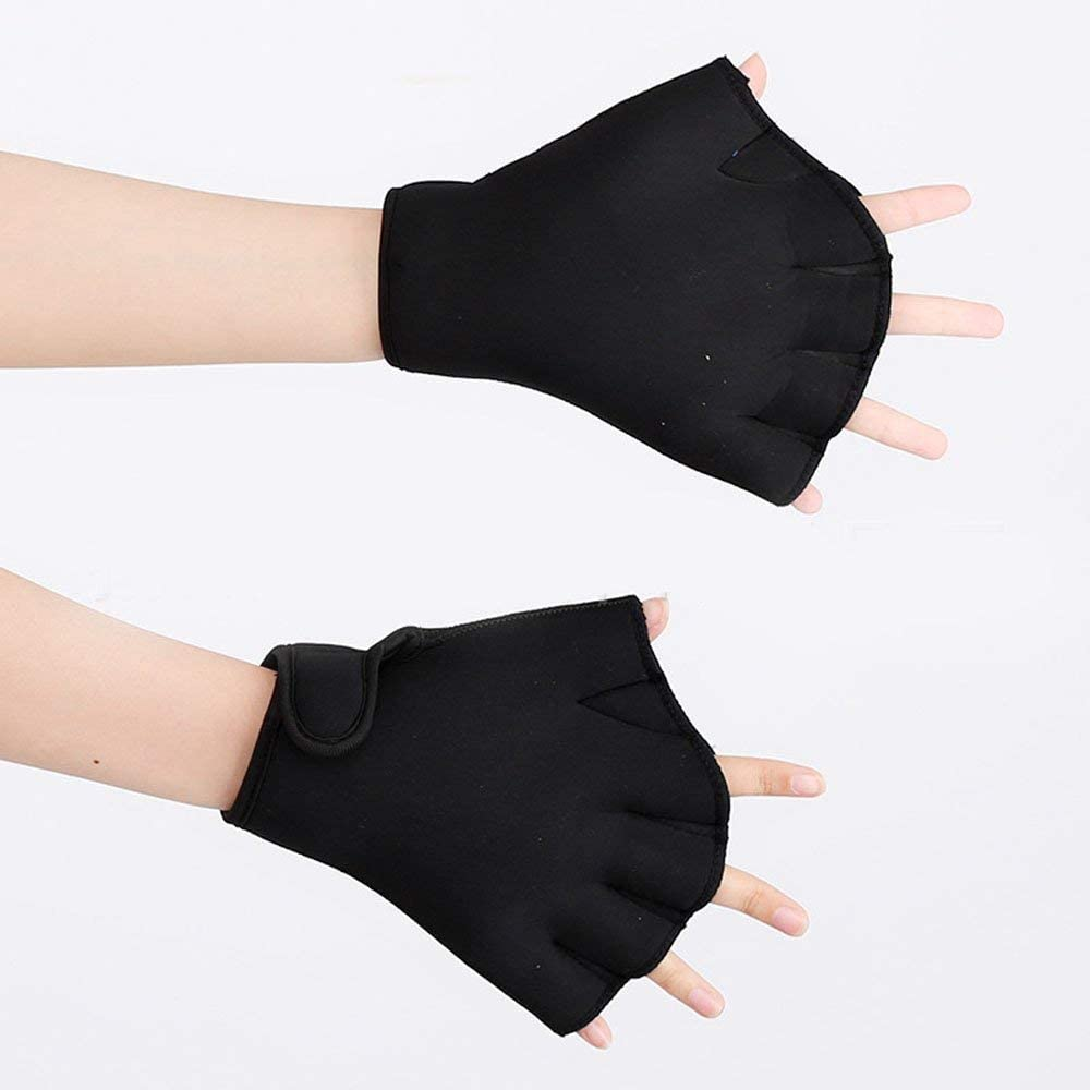 Adult Half Finger Aquatic Gloves with Adjustable Wrist Strap Diving Webbed Gloves Aquatic Exercise Swim Gloves Waterproof Paddle Fast Dry Gloves Fingerless Swimming Hand Webbed for Swimming Training