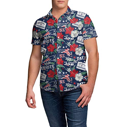 NFL New England Patriots Mens Thematic Print Tropical Floral Button Up ShirtThematic Print Tropical Floral Button Up Shirt, Team Color, XL