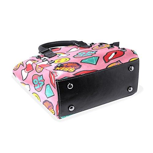 Emoji Pop Art Patch Muster Schultertasche Top COOSUN Handtasche Griff Leder Pink Umhängetasche Tote Frauen Stitch PU 5AqYnn0tx