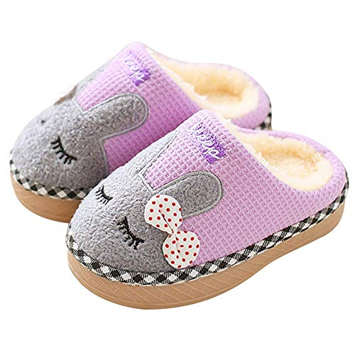 (SITAILE Cute Home Shoes, Kids Fur Lined Indoor House Slipper Bunny Warm Winter Home Slippers for Girls(Toddler/Little)