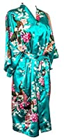 CCcollections Kimono 16 Colours Peacock Premium Dressing Gown Robe Light Weight Lounge wear