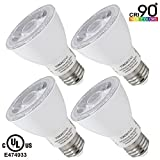 Torchstar #Wet Location# Dimmable PAR20 LED Light Bulb, High CRI90+, 7W (50W Equivalent), 5000K Daylight, 580Lm, E26 Medium Base, 3 YEARS WARRANTY, Pack of 4