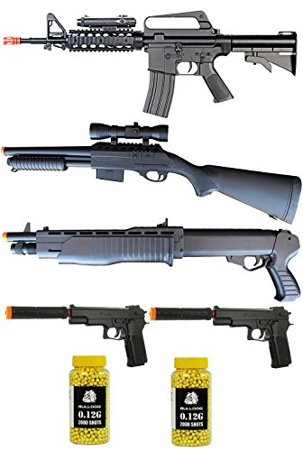 PACK OF 7 AIRSOFT STARTER PACK- POWERFULL AIRSOFT SPRING RIFLE, 2 X SPRING AIRSOFT SHOUTGUNS WITH ACCESSORIES, 2 X AIRSOFT SPRING PISTOL WITH SILENCER AND 4000 AIRSOFT BULLDOG BBs by A&N