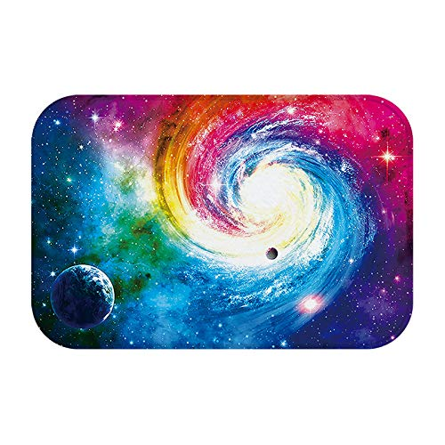 Solar System, Milky Way, Universe Abstract Clouds Swirl Mars Earth Red Blue Purple Planet Large Door Mat, Non-Slip Entrance Carpet Apartment Garage Kitchen Wood Word Shoe Scraper Floor Carpet by JANNINSE