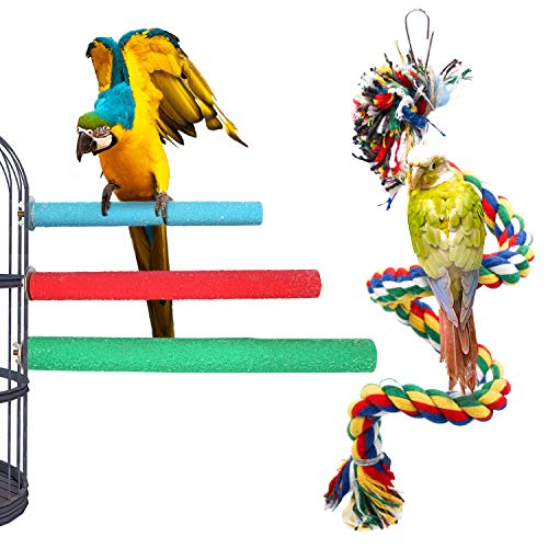 3Pcs Bird Perchs Bird Stand Toy and 1Pcs Bird Rope Perches, Wood Parrot Stand Platform Colorful Sand Paw Grinding Stick Cage Accessories Exercise Toys for Cockatiel Conure Budgies Parakeet (Wood+Rope)