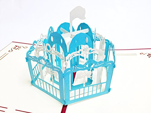 Creve 3D Popup Greeting Card Congratulations New Baby Gift Merry-Go-Round (Blue)