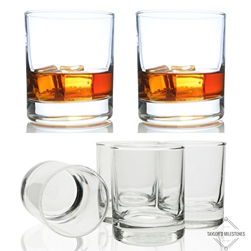Taylor'd Milestones No.1 Classic Whiskey Scotch Glasses & 3.5 oz Shot Glasses. Best Buy Bundle for Bourbon, Scotch & all Cocktails. (shot glasses + No.1 Classic Whiskey Glasses)