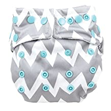 Bumkins Snap-in-One Diaper Grey Chevron