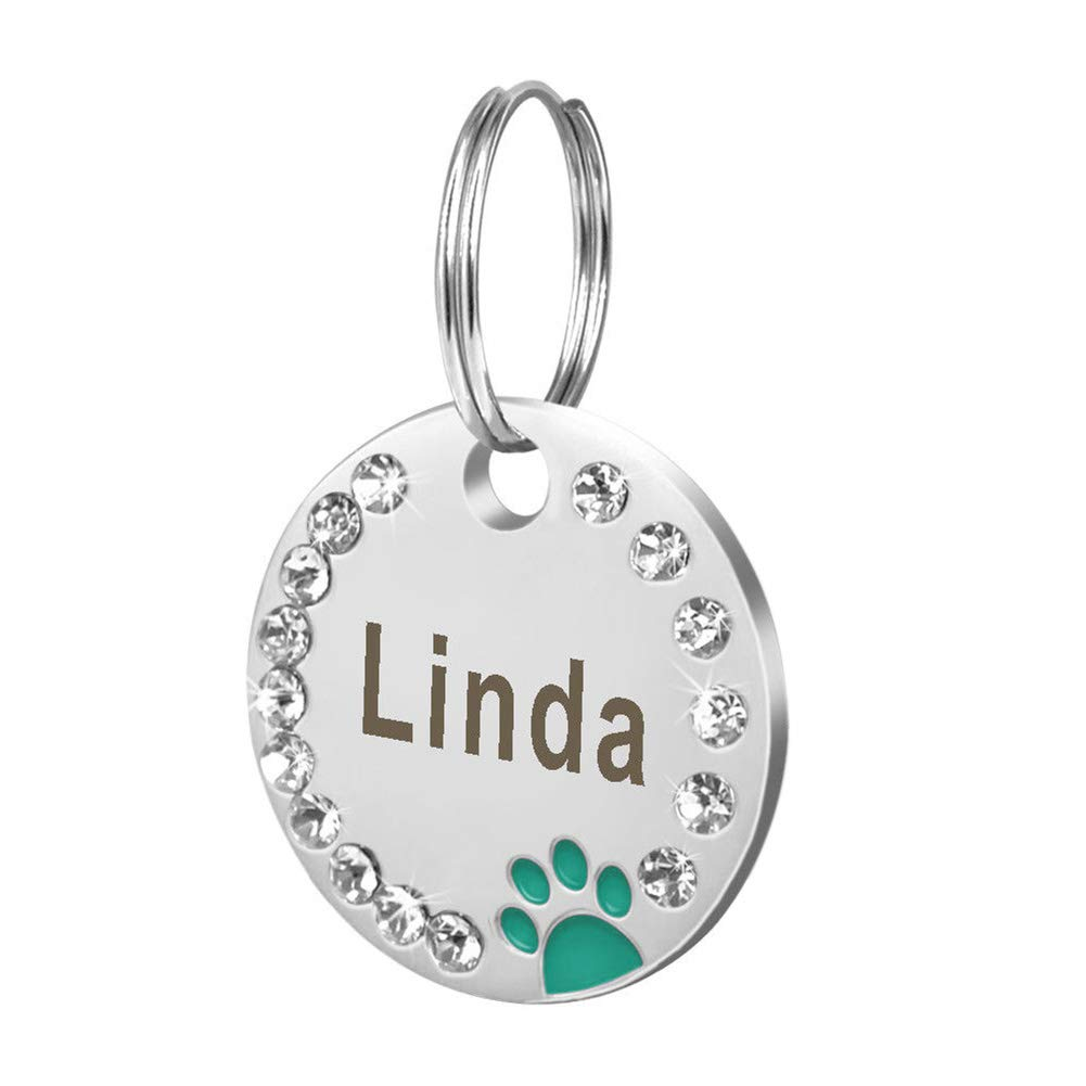 POEwjCCk Pet ID Tag Pet Dog Cat Puppy Engraved ID 25mm Metal Blank Dog Tag Paw Rhinestone Pet Cat ID Name Engraved Key Ring Chain Decor Charm Personalized Black