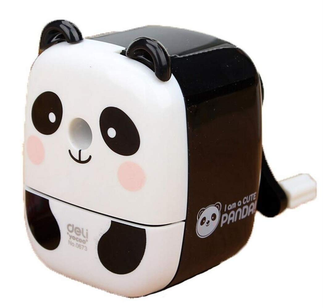 Forniture per ufficio Cute Panda Desktop temperamatite girevole a mano (bianco) NaXinF