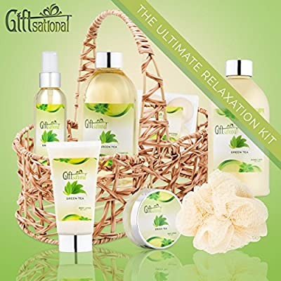 Spa Gift Basket with Refreshing Green Tea Fragrance, Best Mother's Day Gift, Birthday, Anniversary Gifts For Women, Girls, Set Includes Bubble Bath, Shower Gel, Body Scrub, Body Spray, Fizzers & More.