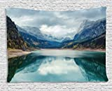 Ambesonne Lake House Decor Tapestry, Alpine Lake with Dramatic Sky Forest and Mountains Fantastic Journey Art Photo, Wall Hanging for Bedroom Living Room Dorm, 80 W X 60 L, Blue Green and Grey