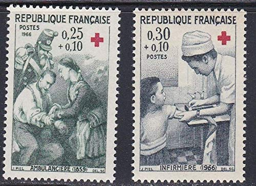 France 1966 Red Cross 25c+10c First Aid on Battlefield 1859 and 30c+10c Nurse Giving First Aid to Child Set of 2 Semi-Postal Postage Stamps, Catalog No B402-03, MNH
