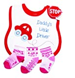 Baby Bib with Red Car & Pink Socks 6-12 Months (Just Perfect)