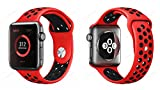 Soft Silicone Replacement Band for Apple Watch Series 2, Series 1, Sport, Edition, M 38MM (RED X BLACK)