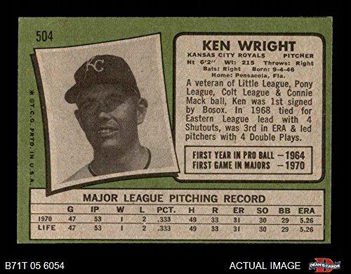 Amazon.com: 1971 Topps # 504 Ken Wright Kansas City Royals (Baseball Card) Deans Cards 4 - VG/EX Royals: Collectibles & Fine Art