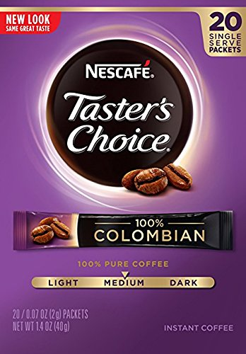 Nescafe Taster's Choice 100% Colombian Instant Coffee, 20 Count Single Serve Sticks, (Pack of 8) by Taster's Choice
